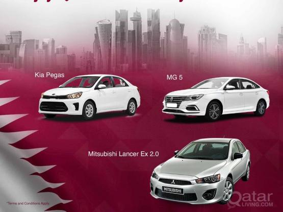 HAPPY QATAR NATIONAL DAY, ENJOY WITH SAFETY RENT A CAR
