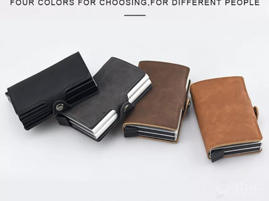 Double Aluminum RFID Leather Credit Card Holder (automatic Pop Up)- Small Card Case Wallet