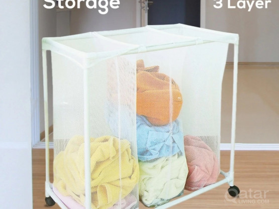 Laundry Sorter Triple Compartment with Wheels