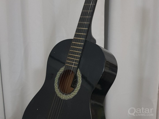 Guitar with floor stand and bag