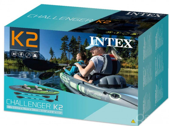 Intex 68306 CHALLENGER K2 Kayak. PVC inflatable boat with paddle and air pump