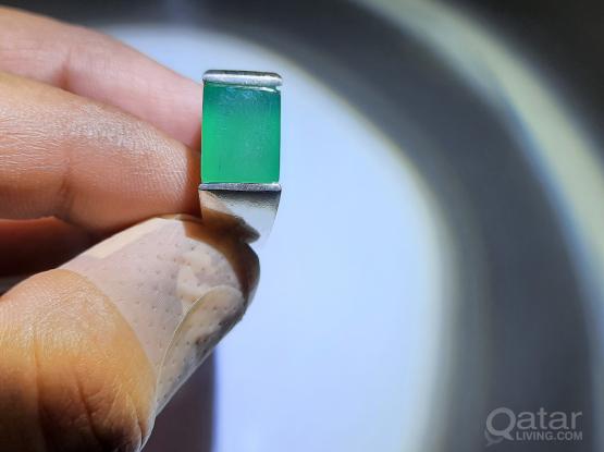 Gemstone ring precious Green Agate
