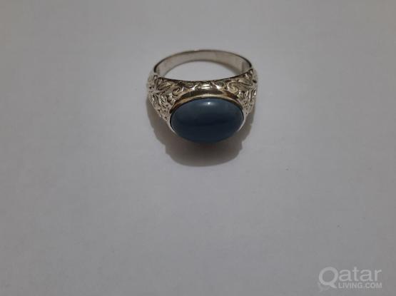 Gemstone ring precious Blue Opal
