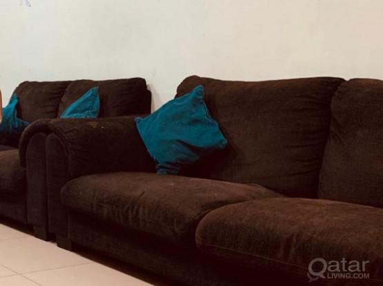 3 IKEA Sofas (1 3-seats and 2 2-seats) Dark Brown