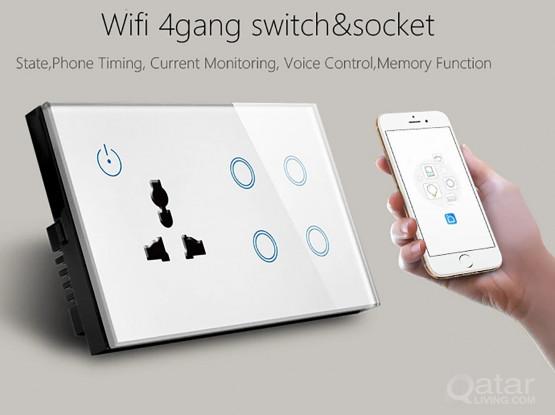 4 Gang Wifi Smart Wall Switch & Socket