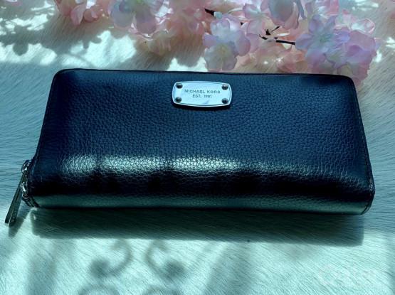 MICHAEL KORS Black Pebble Leather Wallet