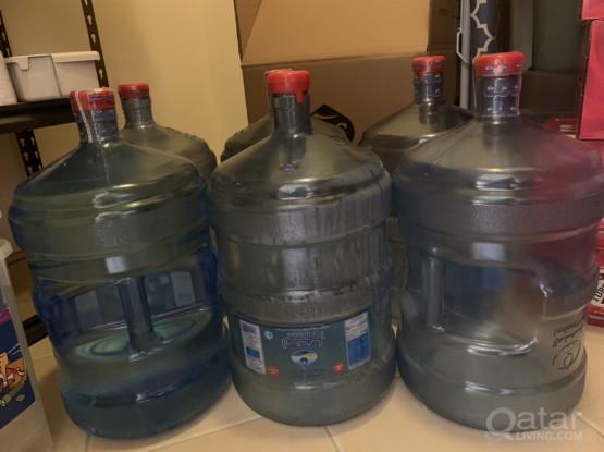 6 Empty Al Manhal 5 Gallon Water Bottles