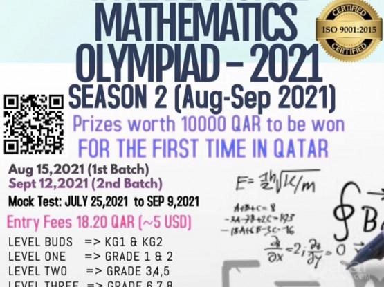 Virtual Maths Olympiad Competition for KG1- Grade 12 students.