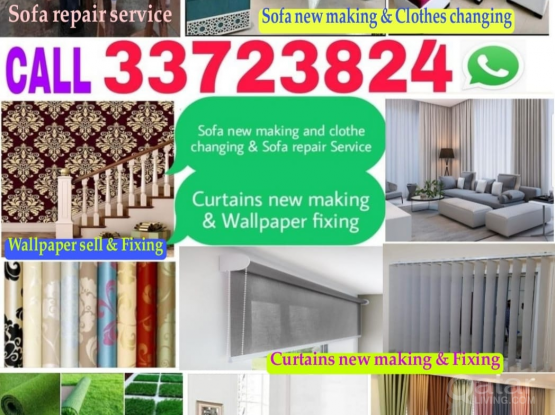 Call us 33723824 Sofa curtains new making and clothes changing, wallpaper fixing & painting Service.