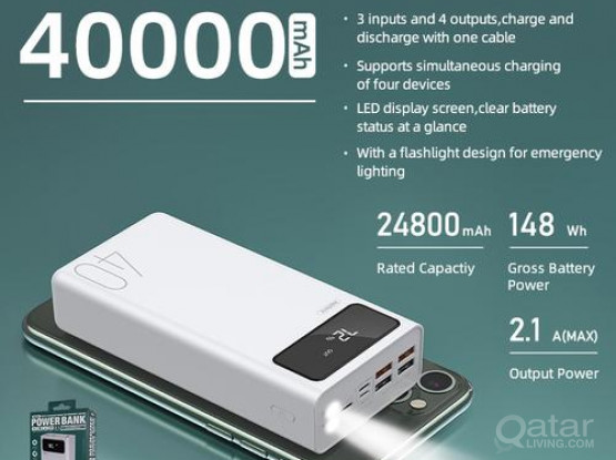 Remax RPP-113 40000mah Power Bank with 4 USB Output and 3 Input LED Display