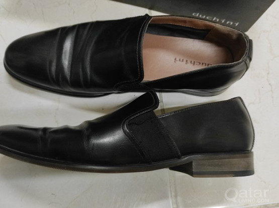 Duchini Pure leather Black Shoes for men
